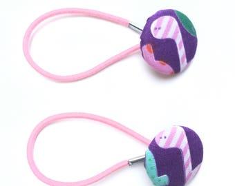 Pretty purple dinosaur print fabric hair ties, ponytail holders, fabric button hairband, covered fabric button, ponytail ties