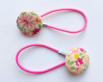 Pretty cream and pink babycord hair ties, ponytail holders, fabric button hairband, covered fabric button, ponytail ties