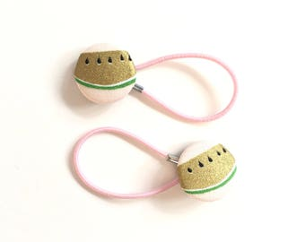 Pretty gold and pink watermelon hair ties, ponytail holders, fabric button hairband, covered fabric button, ponytail ties