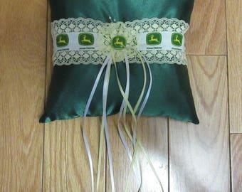 John Deere Wedding Ring Bearer Pillow Green Satin Bridal Pillow
