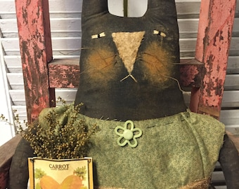 Primitive Grungy Folk Art~Mrs. Rabbit Doll w/Carrot Seed Pack and Sweet Annie