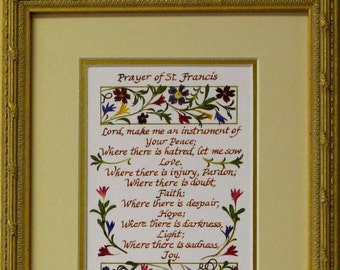 St. Francis Prayer calligraphy christian prayer pastor gift christian gift prayer of st francis Inspirational art Wall art gift for priests