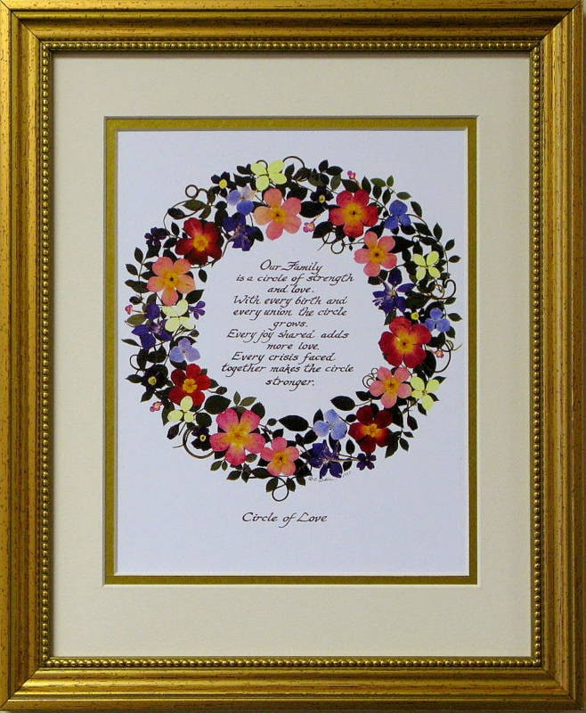 Circle Of Love Family Circle Family Poem Calligraphy Art Our Etsy