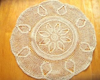 Handmade vintage crocheted tabletop doily