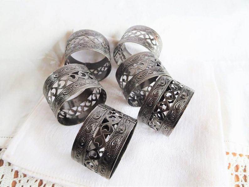 Six Decorative Filigree Napkin Holders
