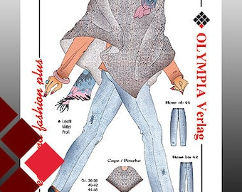 Pattern for a poncho with trousers size 36-58