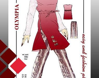 Pattern for a tunic with trousers size 34-44