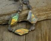 labradorite necklace, labradorite slab necklace, labradorite beaded necklace, grey necklace, flash labradorite slab nugget