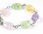 natural gemstone jewelry, prehnite green stone bracelet, purple amethyst beaded gift, yellow citrine stone items