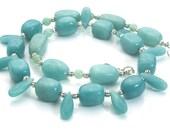 deep aqua blue amazonite bead necklace, natural amazonite necklace, handmade gemstone jewelry, handcrafted gemstone jewelry ,