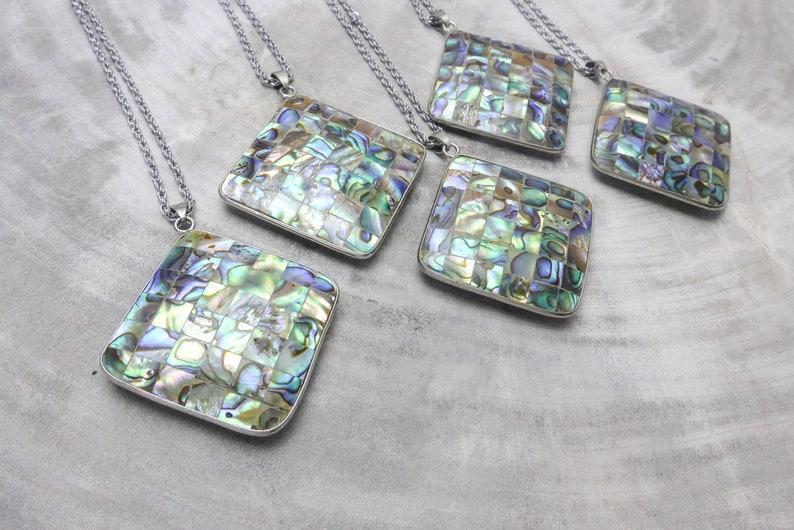 double size pattern necklace paved shell square pendant diamond abalone shell pendant chain pendant natural shell jewelry pendant