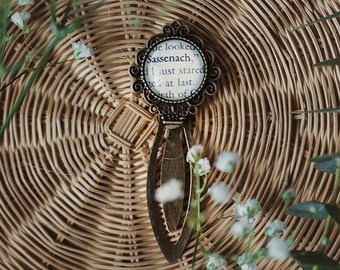 Outlander Gift, Dianna Gabaldon, Sassenach, Jaime and Claire, Gift for Book Lover, Fandom Gift, Bookish Jewelry, Custom Bookmark