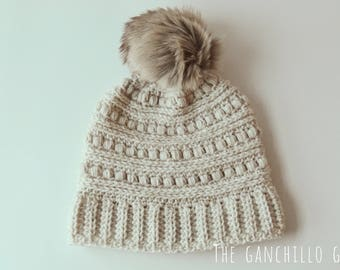Crochet Winter Hat with Faux Fox fur Pom pom Womens young adult size
