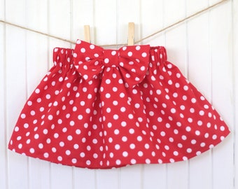 Red Polka Dot Skirt/ Disneyland/ Baby Skirt/ Red Skirt/ Girls Skirt/ Bow/ Ruffle/ Minnie Mouse/ High waisted/ Toddler/ Dress/ Newborn/Disney