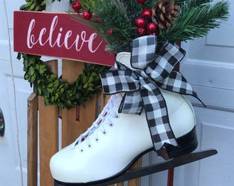 christmas ice skate ice skate christmas hangingchristmas figure skatebuffalo plaid rustic christmas decor christmas decorated skate