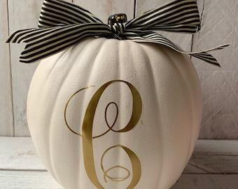Farmhouse Decor, Farmhouse Pumpkin, Personalized Pumpkin,Fall Decor, Decorated Pumpkin, Monogram Pumpkin,Halloween Decor, Thanksgiving Decor