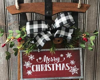 farmhouse christmas decor decorated sled farmhouse sled christmas decor christmas sled buffalo plaid decor farmhouse door decor - Wooden Sled Decoration Christmas