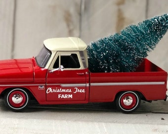 diecast vintage pickup truck farmhouse christmas truck christmas truck decor red truck farmhouse decor vintage farm truck