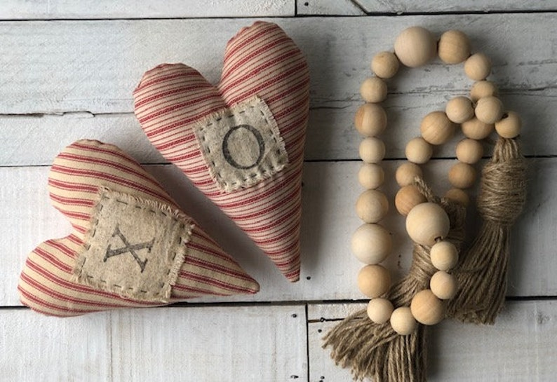 Primitive Farmhouse Handmade Valentines Love Heart Bowl Fillers