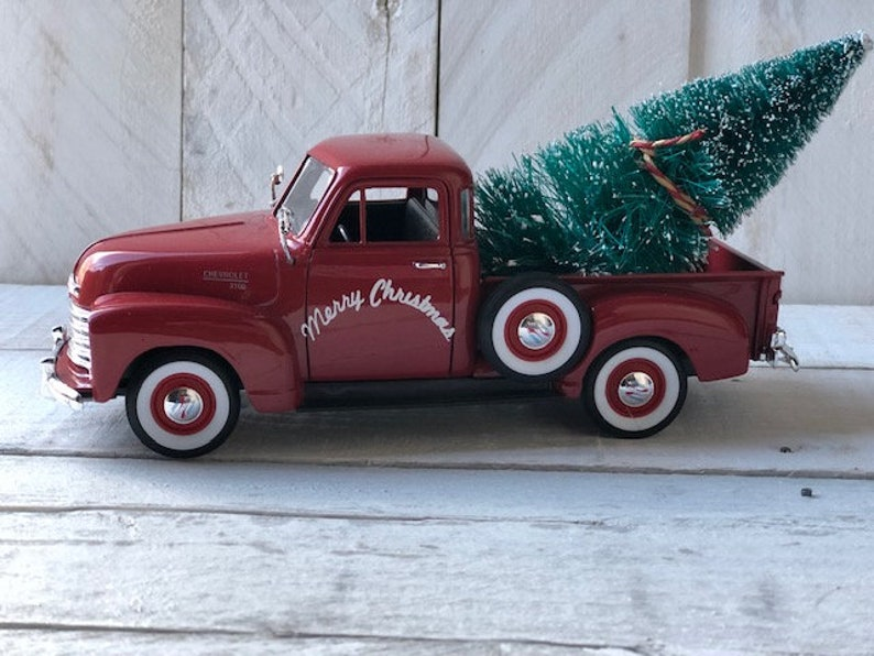 Red Metal Truck Personalized Truck Vintage Truck Decor Farmhouse Truck Vintage Farm Truck Little Red Truck Farmhouse Decor Christmas Truck