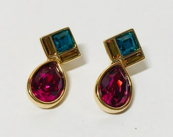 Vintage post dangle earrings purple blue and yellow stones gold tone