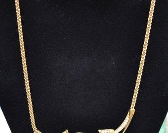 Trifari Necklace and Earrings Set Rhinestones Gold Tone