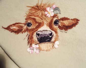 Cow hand embroidery Instructions drawings by TAETIA