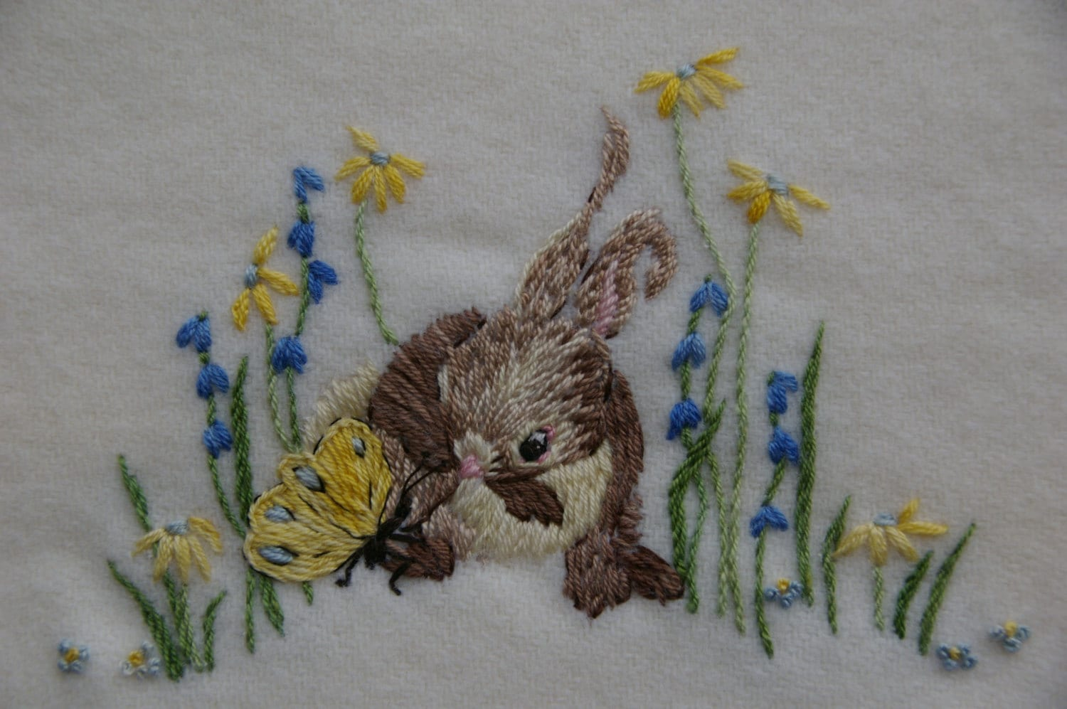 Hand Embroidery Pattern Baby Blanket Design Bunny Rug