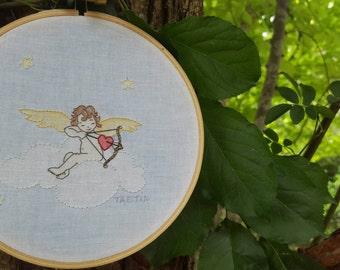 VALENTINE Hand Embroidered Love Angel CUPID Embroidery Hoop Art
