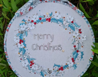 Christmas wreath hand embroidery kit hoop art wreath printed panel Liberty fabric charms sequins Holly berries festive season embroidery
