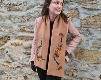 Applique and Hand Embroidery pattern Hearts SCARF Stitchery Instructions and Pattern PDF by TAETIA