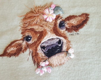 Hand Embroidery blanket pattern Cow In The Blossoms Instructions and Pattern for blanket embroidery