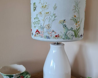 Hand Embroidery printed lampshade panel. Frog Went Walking  hand embroidered lampshade design. Modern embroidery by TAETIA