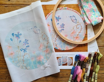 Hand Embroidery printed panel and FULL KIT. Hand embroidered design by TAETIA. Watercolour embroidery hoop art with threads, hoop included