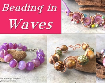 Organic Wire Bead Weaving With a Loom-Downloadable VIDEO Tutorial-Learn loom beading wwire a simple wire hook clasp /& wire embellishments