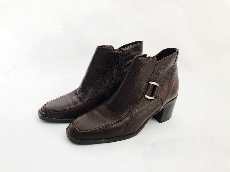 vintage naturalizer ankle booties brown leather women's image 0