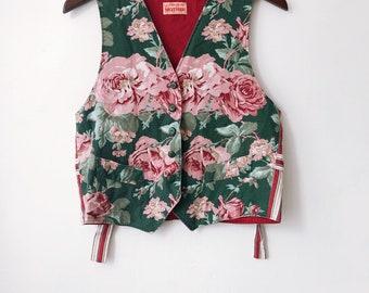 vintage floral vest 90s wonens size small