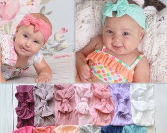 Nylon Knot Bow Headwrap, One size fits all nylon headbands, wide nylon headbands, baby headbands, baby shower, CLASSIC Knot Nylon Headwrap