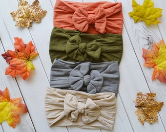 Fall Nylon Knot Bow Headwrap, One size fits all nylon headbands, wide nylon headbands, baby headbands, CLASSIC Knot Nylon Headwrap