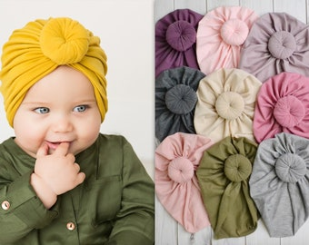 659c99244f90 Knot Baby Turban, baby Stretchy Hat, Baby Turban Hat, Infant Hat, Newborn  Bow Hat, Knit Cotton Bow Hat, Baby Headbands, KNOT TURBAN HAT