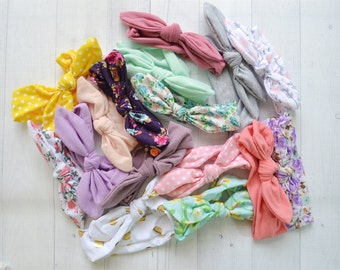Headwrap grab bag of 6, baby headband, knot bow head wrap, knit head wrap