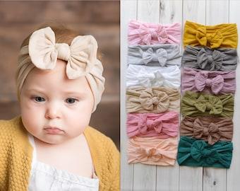 BULK Nylon Bow Headwrap, One size fits all nylon headbands, wide nylon headbands, baby headbands, CLASSIC Knot Nylon Headwrap