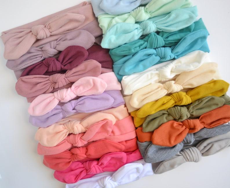 Grab bag of 6 baby headbands knot bow head wrap knit head image 0
