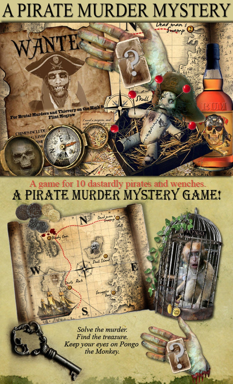 Pirate Murder Mystery party game download  Download and print  booklets,  clues,       Ages 16+ to Adults