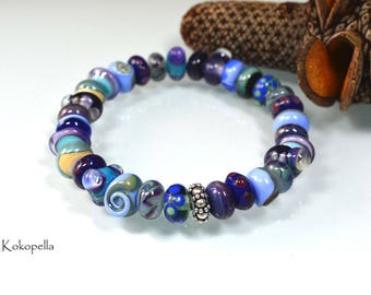 Lampwork beads bracelet with handmade glass beads, bracelet, unique with 925 silver bead, design by Kokopella