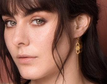 graphic chain earrings goldplated jewelry - MINI SAQ