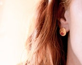 MINI PEPI stud earrings, small medals in leather and gold plated brass 24 carats