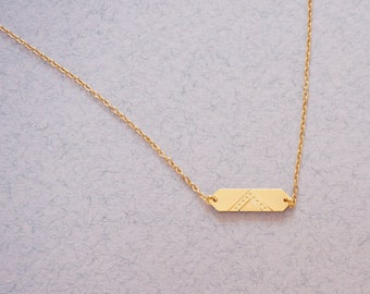 graphic gold curb and thin chain necklace - MINI LOUVRE