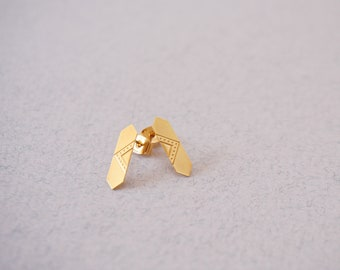 Gold mini studs asymetric goldplated french jewelry - MINI LOUVRE