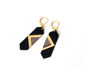 Leather black pendant earrings geometric shape dots + triangle - LOUVRE